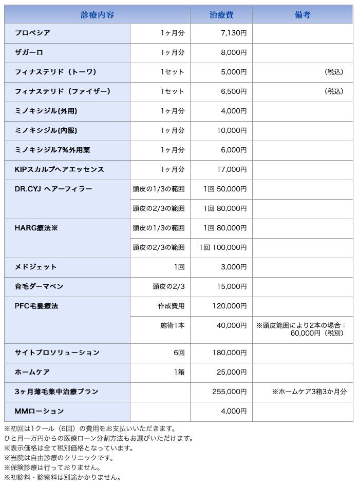 川崎中央クリニックの価格表